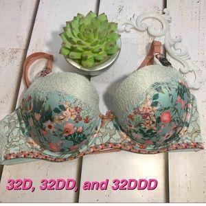 Victoria/'s Secret 36D *DREAM ANGELS* PUSH-UP BRA *Opal Blue Lace*